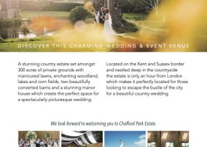 Flyer design for wedding venue sussex